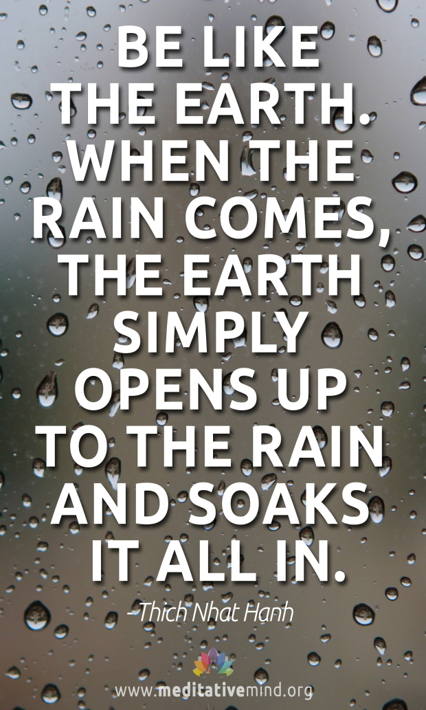 Be like the earth. When the rain comes, the earth simply opens up to the rain and soaks it all in..jpg